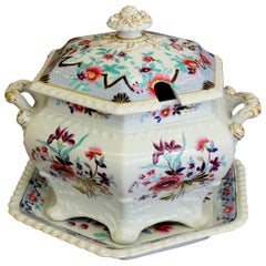 Antique English John and William Ridgway Ironstone Soup Tureen and Stand
