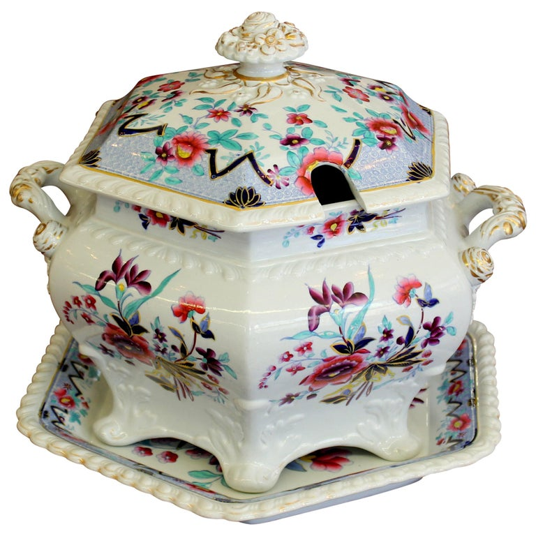 Antique English John and William Ridgway Ironstone Soup Tureen and Stand For Sale