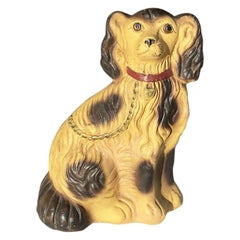 Antique English King Charles Cavalier Hand-Painted Dog Doorstop