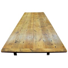 """Antique English Knotty Pine Farm House Table with """"Bread-Board"""" Ends"""
