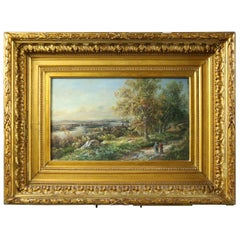 Antique English Landscape Watercolor Painting in Giltwood Frame, circa 1880