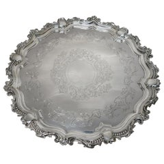 Antique English, Large Round Sterling Silver Tray