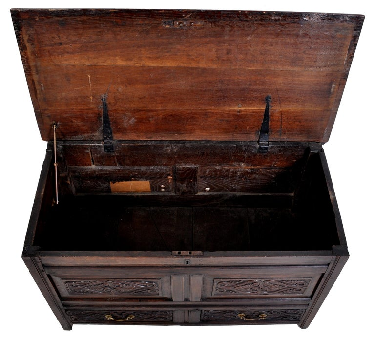 Antique English Late 17th Century Carved Oak Mule Chest / Coffer, circa 1680 For Sale 5