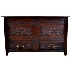 Antique English Late 17th Century Carved Oak Mule Chest / Coffer, circa 1680