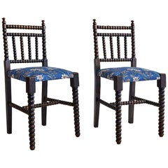 Antique Bobbin Chairs in Dark Oak with New Upholstery, England Late 19th-Century