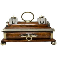 Antique English Late 19th Century Unusual Elm Double Inkstand with Drawer