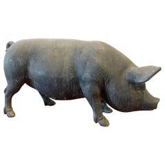 Antique English Lead Pig Sculpture
