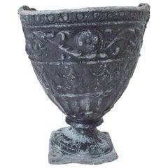 Antique English Lead Planter Urn Vase w/ Floral Scroll Stately Garden Jardinière