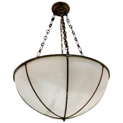 Antique English Leaded Glass Pendant Light