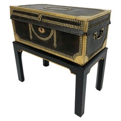 Antique English Leather Blanket Camphor Wood Chest on Stand, circa 1820s