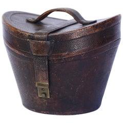 Antique English Leather Hat Box