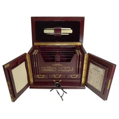 Antique English Leather Stationery Cabinet by Thornhill, Bond Street, circa 1900