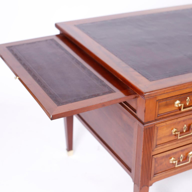 19th Century Antique English Leather Top Desk For Sale