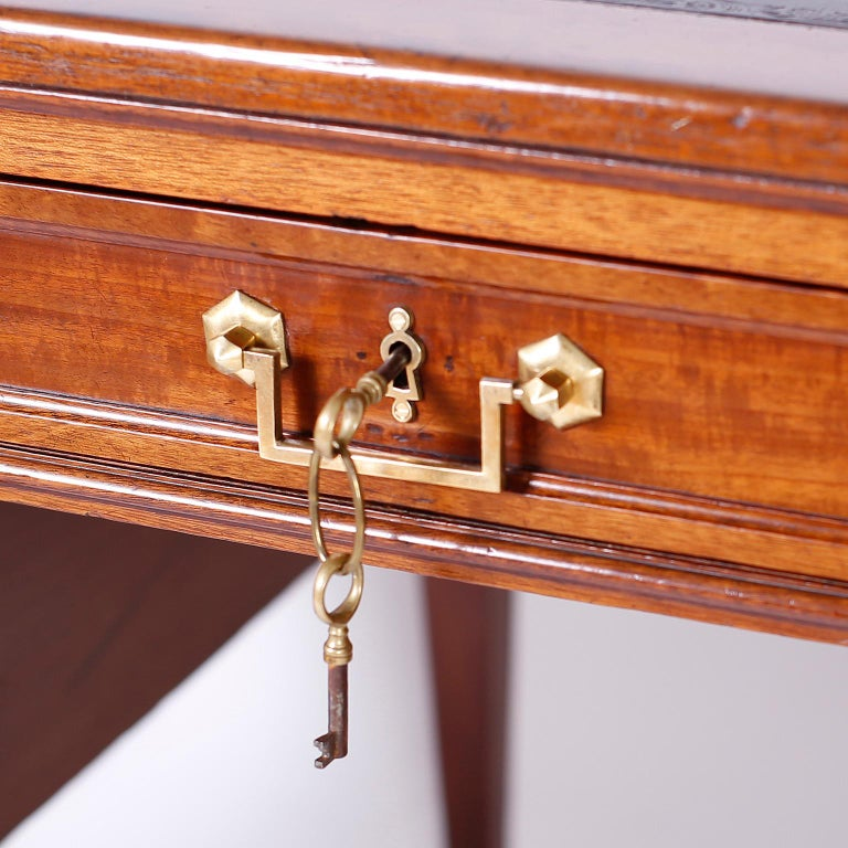 Antique English Leather Top Desk For Sale 1