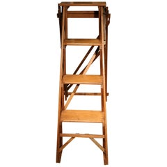 Antique English Library Folding Stairs
