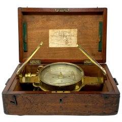 Antique English London-Made Brass Surveying Compass in Original Case, circa 1880