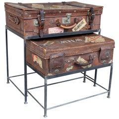 Antique English Luggage Nesting Table Pairing