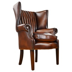 Antique English Mahogany and Hand Dyed Leather Barrel Back Wing Chair