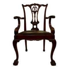 Antique English Mahogany Armchair, circa 1830-1840