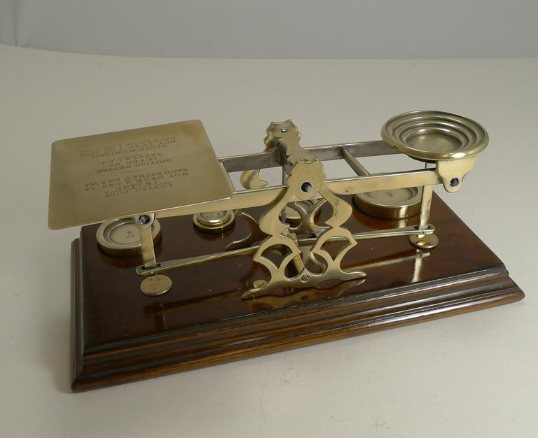 Late Victorian Antique English Mahogany & Brass Letter Scales, S. Mordan & Co., London For Sale