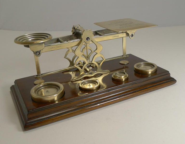 Antique English Mahogany & Brass Letter Scales, S. Mordan & Co., London In Excellent Condition For Sale In London, GB