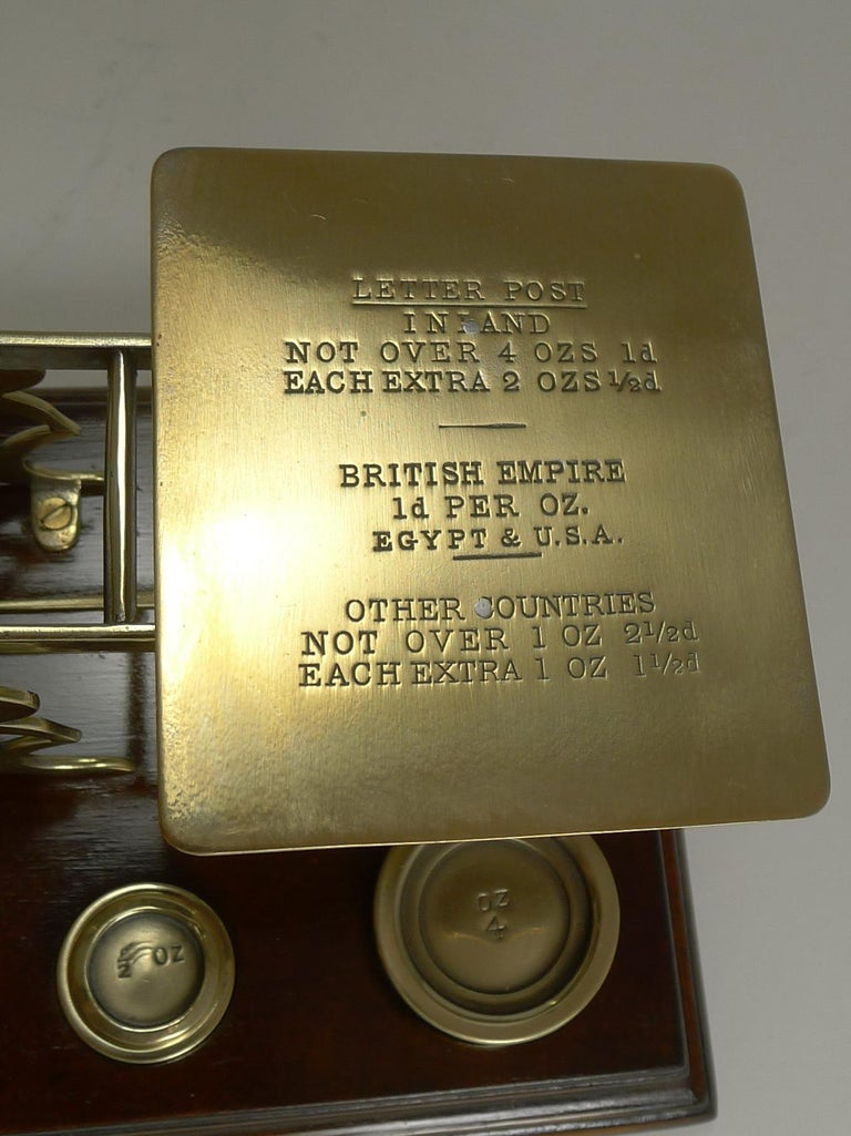 Early 20th Century Antique English Mahogany & Brass Letter Scales, S. Mordan & Co., London For Sale
