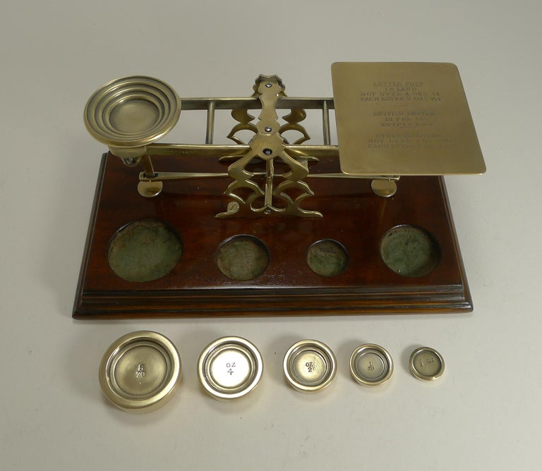 Antique English Mahogany & Brass Letter Scales, S. Mordan & Co., London For Sale 1