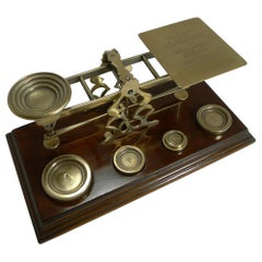 Antique English Mahogany & Brass Letter Scales, S. Mordan & Co., London