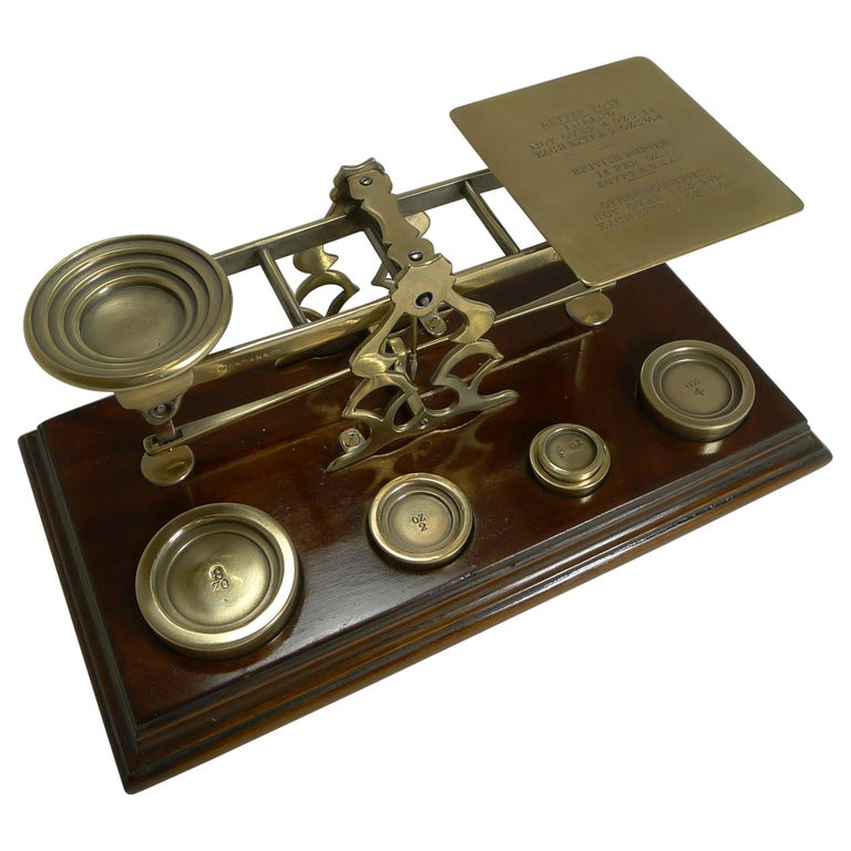 Antique English Mahogany & Brass Letter Scales, S. Mordan & Co., London For Sale