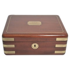Antique English Mahogany Brass Mounted Fitted Jewel Box
