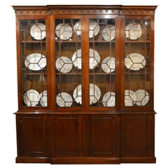 Antique English Mahogany Breakfront Bookcase, Late Georgian