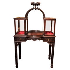 Antique English Mahogany Brighton Pavilion Chinoiserie Display Cabinet, 1890s