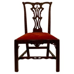 Antique English Mahogany Chair Fretwork Design Chippendale, circa 1870-1880