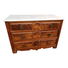 Antique English Mahogany Chest of Drawers With Marble Top