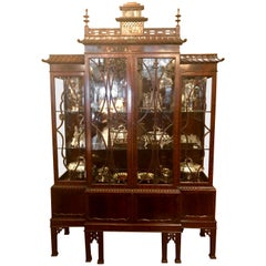 Antique English Mahogany Chippendale Breakfront Display Cabinet, circa 1880-1900