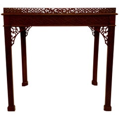 Antique English Mahogany Chippendale Fretwork Tea Table, circa 1860-1870