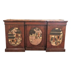Antique English Mahogany Credenza with Chinoiserie Panels