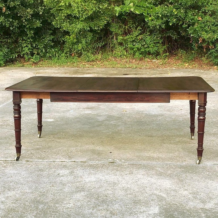 Edwardian Antique English Mahogany Dining Table with Leaf For Sale