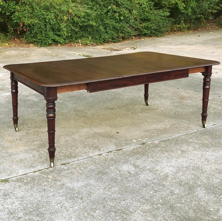 Hand-Crafted Antique English Mahogany Dining Table with Leaf For Sale