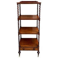 Antique English Mahogany Display Shelf Barley Twist Étagère Bookcase, 19th c