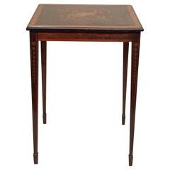 Antique English Mahogany Inlaid Edwardian Occasional Table, circa 1890