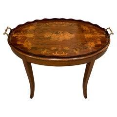 Antique English Mahogany Inlaid Satinwood Tray on Stand