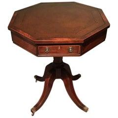 Antique English Mahogany Leather Top Hexagonal Table