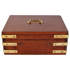 Antique English Mahogany Lock Box, circa 1850