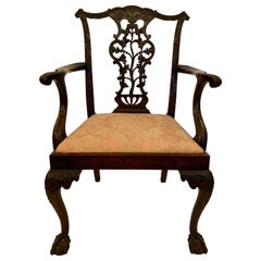 Antique English Mahogany Master Carving Armchair, 19th Century