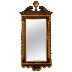Antique English Mahogany Parcel Gilt Mirror