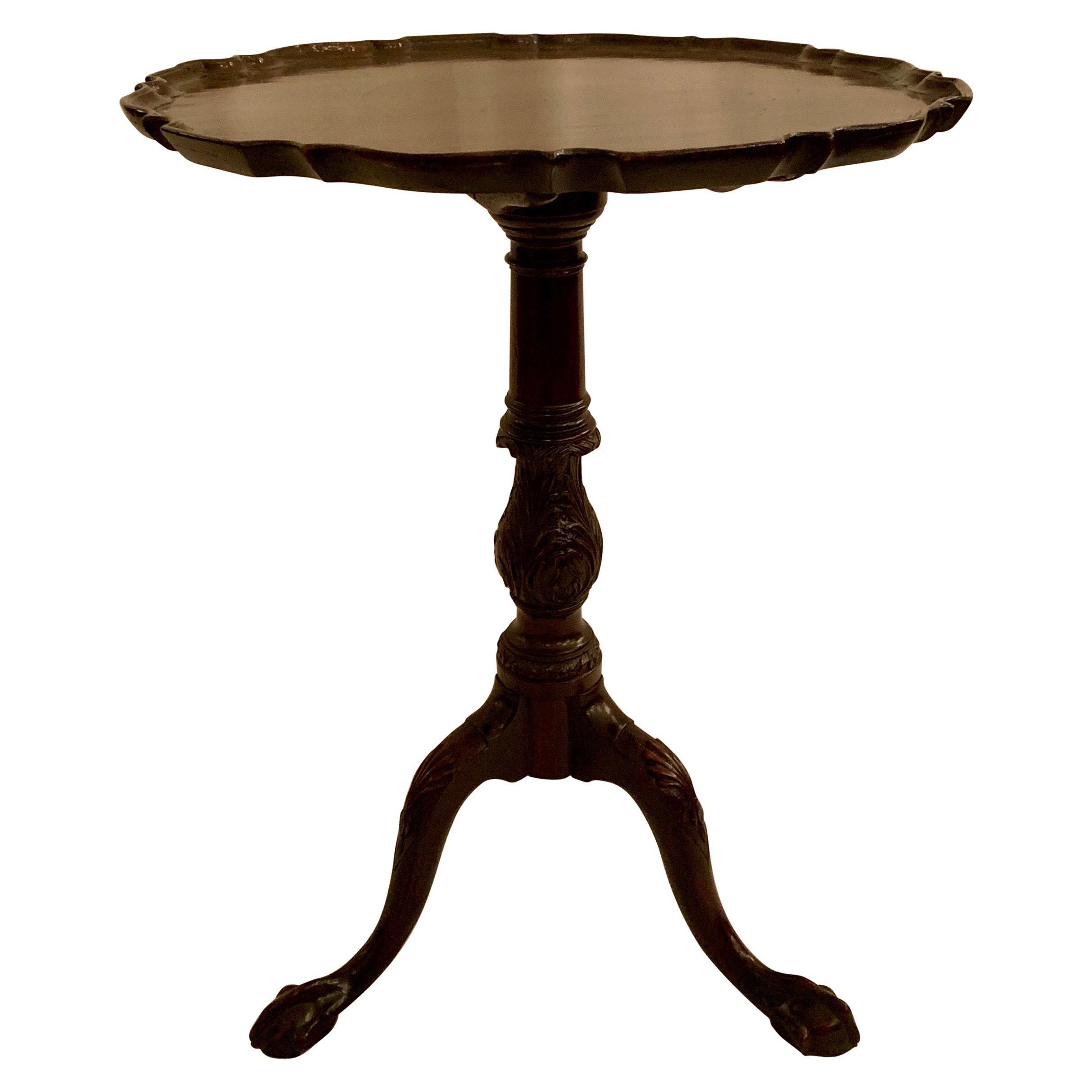 Antique English Mahogany Pie Crust Table, Late 19th Century
