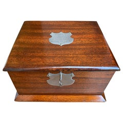 Antique English Mahogany Pipe Smoke Cabinet Card Game Box Humidor 1924 Plaque