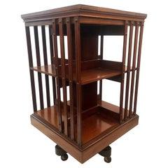 Antique English Mahogany Revolving Bookcase, Circa 1870-1880.
