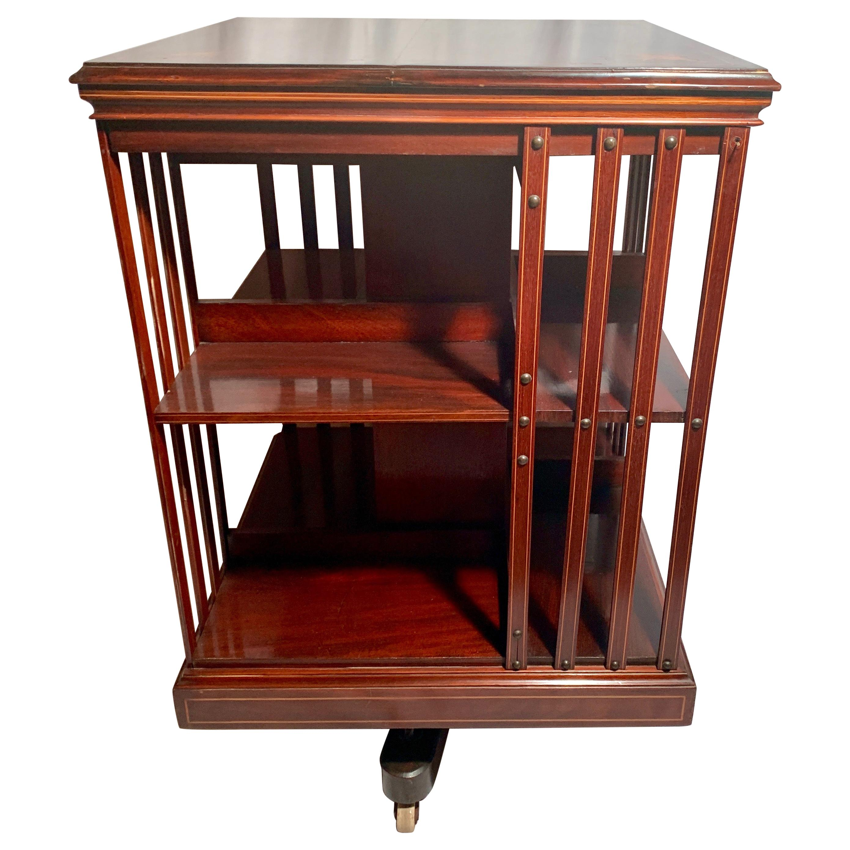 Antique English Mahogany Revolving Bookstand, circa 1870-1880